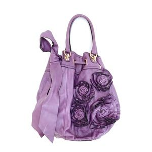 Handbags - ☀️SALE Purple leather floral large crossbody bag
